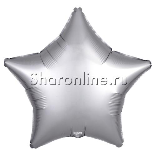 Фото №1: Шар Звезда Серебряная сатин 53 см