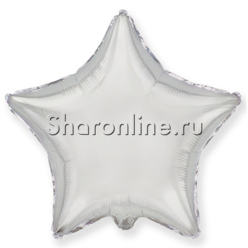 Фото №1: Шар фольгированный Звезда Серебро 46 см