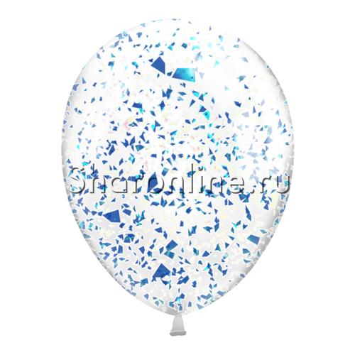 Фото №2: Шары с голубым голографическим конфетти