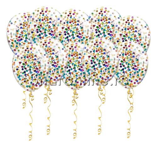 Фото №1: Шары с круглым разноцветным конфетти