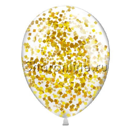 Фото №2: Шары с квадратным золотым конфетти