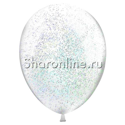 Фото №2: Шары с серебряным конфетти в виде полосок