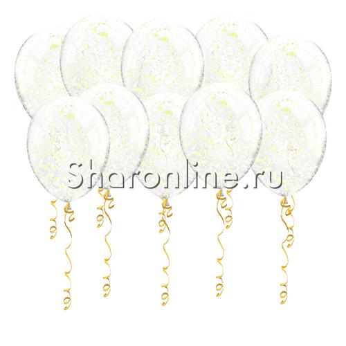 Фото №1: Шары с желтым голографическим конфетти в виде хлопьев