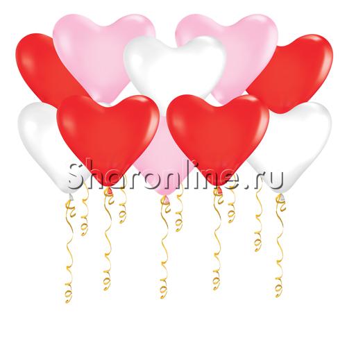 Фото №1: Шары в виде Сердца Ассорти 30 см