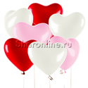 Фото №1: Шары в виде Сердца Ассорти Премиум 41 см