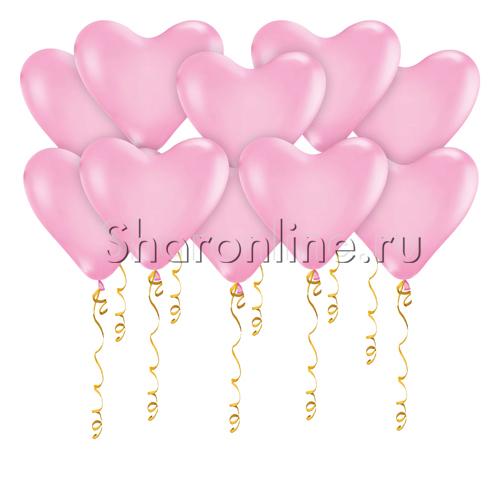 Фото №1: Шары в виде Сердца Розовые Премиум
