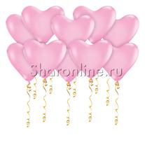 Шары в виде Сердца Розовые Премиум