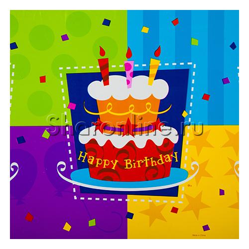 "Фото №1: Скатерть ""Happy Birthday"" торт 54х72 см"
