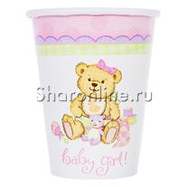 "Стаканчики ""Baby Girl"" Медвежонок девочка 190мл 6шт"