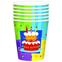 """Стаканчики """"Happy Birthday"""" торт 6 шт"""