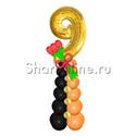 """Фото №1: Стойка из шаров """"9 мая"""" с тюльпанами"""