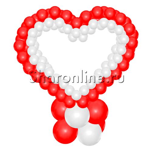 """Фото №2: Стойка из шаров """"Красно-белое сердце"""""""