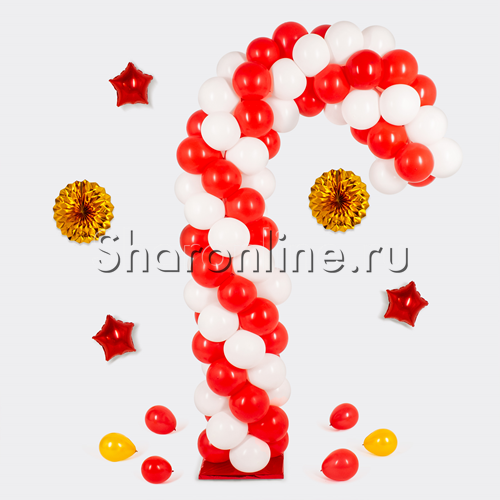 """Фото №1: Стойка из шаров """"Новогодняя трость"""""""