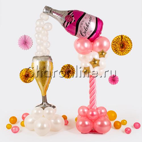 """Фото №1: Стойка из шаров """"Розовое шампанское"""""""