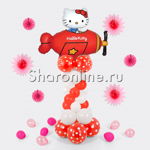 "Фото №2: Столбик из шаров ""Hello Kitty"""