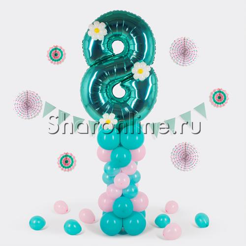 Фото №1: Столбик из шаров с цифрой и декором