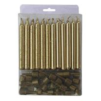 Свечи золотые с круглыми держателями 12шт