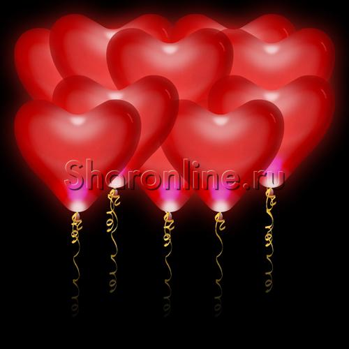 Фото №1: Светящиеся сердца красные Премиум 41 см с белыми диодами