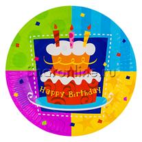 """Тарелки """"Happy Birthday"""" торт 6 шт"""