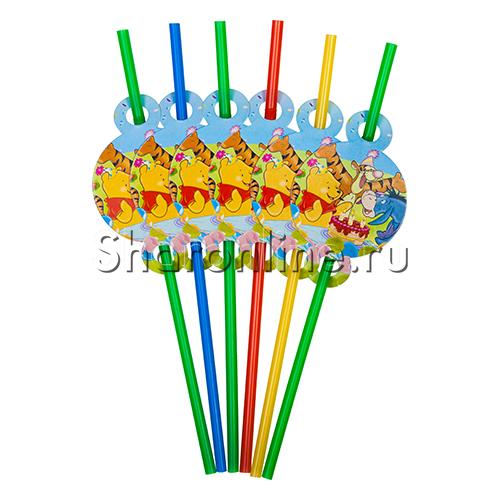 Фото №1: Трубочки для коктейля Винни Пух и друзья 6 шт